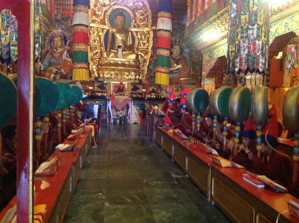 Inside the temple of Zurumang Kagyu Monastery
